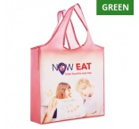 MB1107 - Foldable RPET shopping bag with single layer handles and pouch. Min 250 pcs